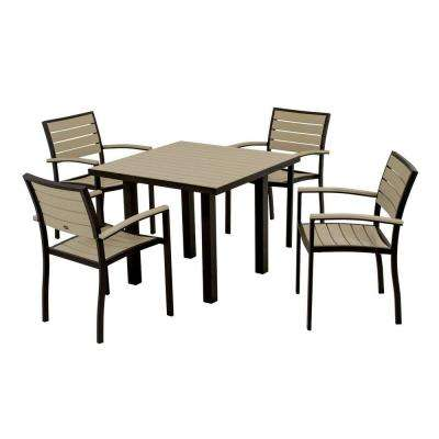 Euro Textured Black 5-Piece Patio Dining Set with Sand Slats