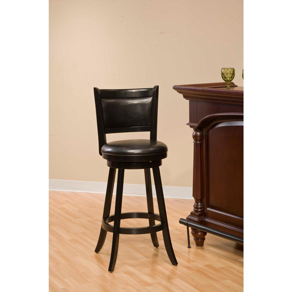 Hillsdale Furniture Dennery 24 5 In Black Swivel Cushioned Bar Stool 4472 827 The Home Depot