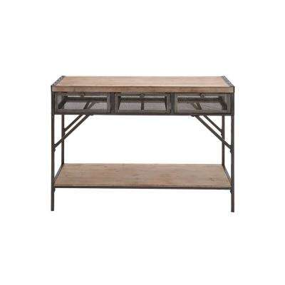 Distressed Black Iron Rectangular 3 Drawer Console Table