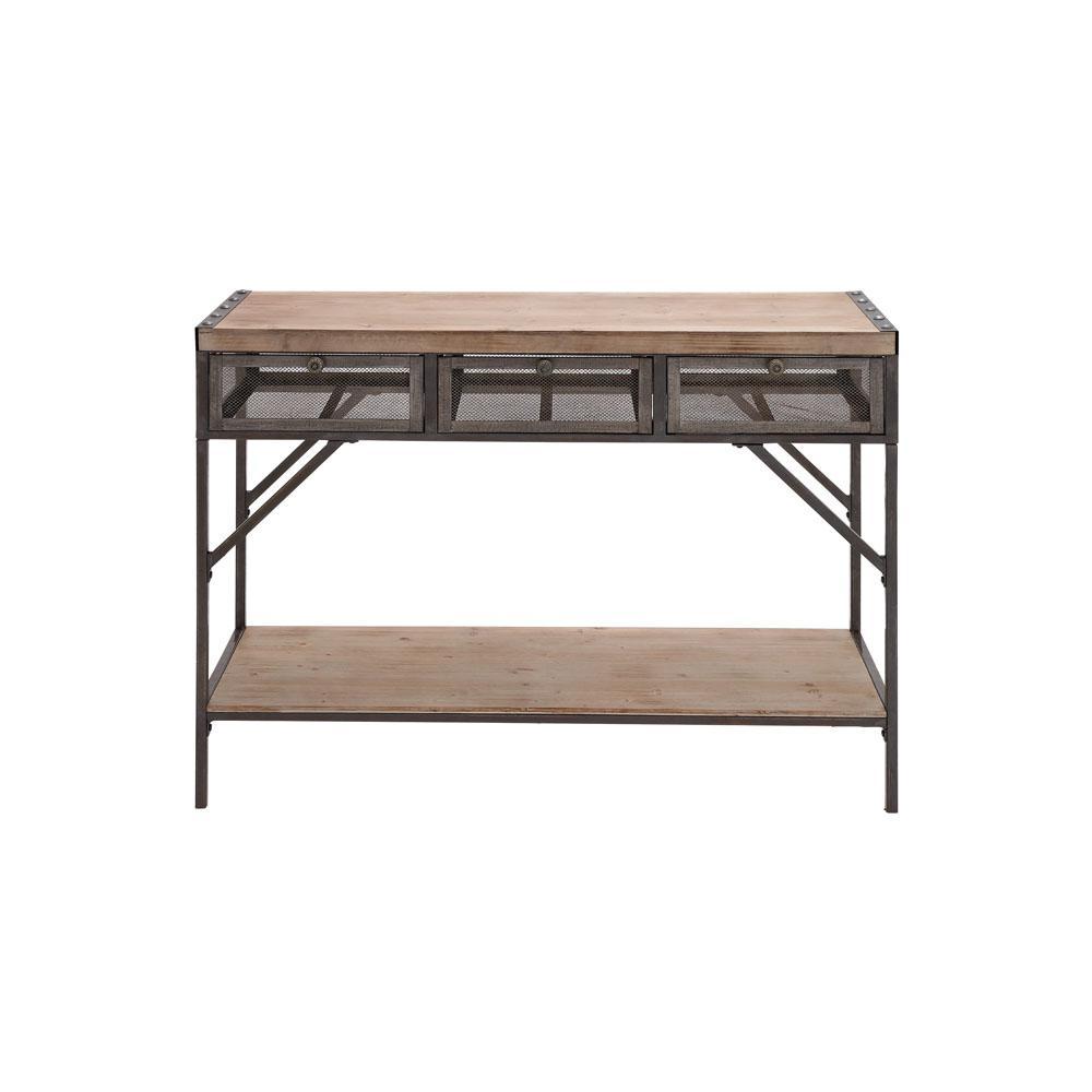 Litton Lane Distressed Black Iron Rectangular 3-Drawer Console Table 54486