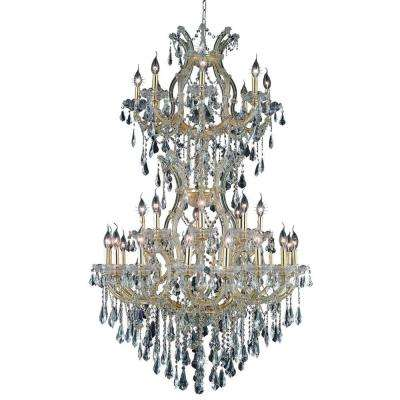 34-Light Gold Chandelier with Clear Crystal