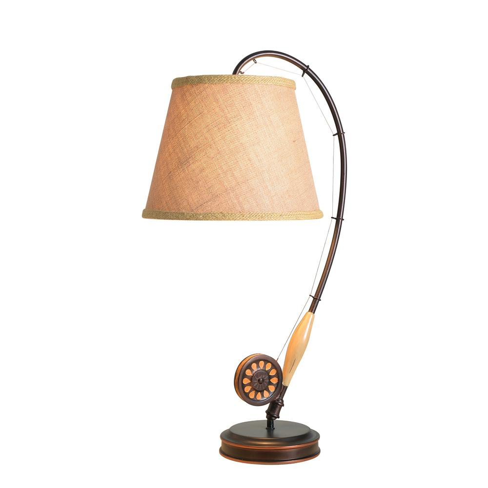 Kenroy Home Fly Rod 28 In Oil Rubbed Bronze Table Lamp With Wood