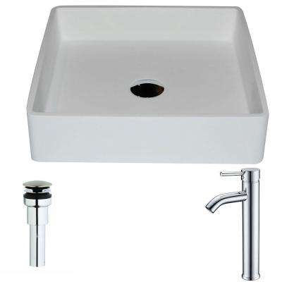 Passage 1-Piece Man Made Stone Vessel Sink in Matte White with Fann Faucet in Chrome