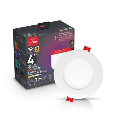 4 in. Wi-Fi Smart Color Changing RGB Tunable New Construction and Remodel Recessed Integrated LED Lighting Kit in White