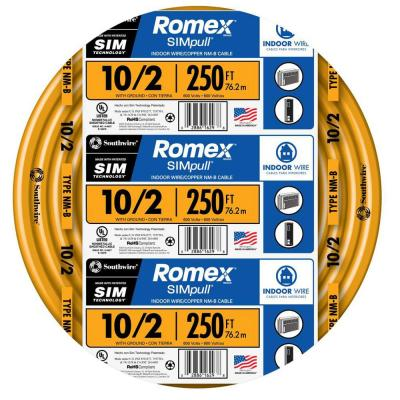 250 ft. 10/2 Solid Romex SIMpull CU NM-B W/G Wire