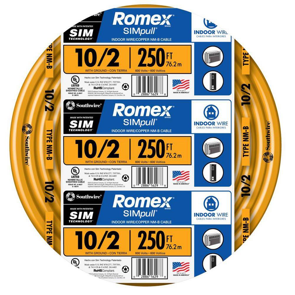 250 ft. 10/2 Solid Romex SIMpull CU NM-B W/G Wire