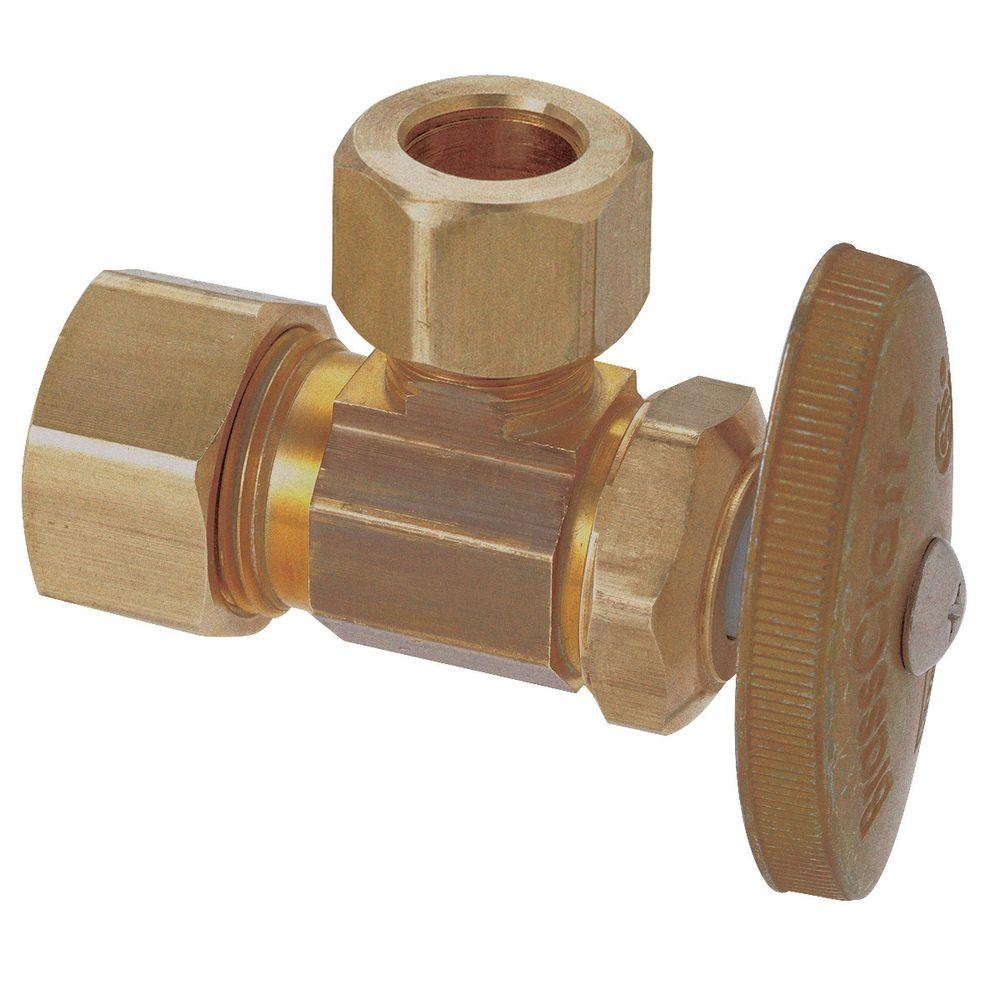 BrassCraft 1/2 in. Nominal Compression Inlet x 1/2 in. O.D. Compression Outlet Brass Multi-Turn Angle Valve (5-Pack)