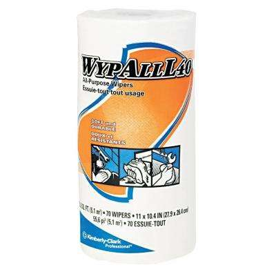 L40 White Perforated Wipers Small Roll (24 Rolls of 70 Wipers)