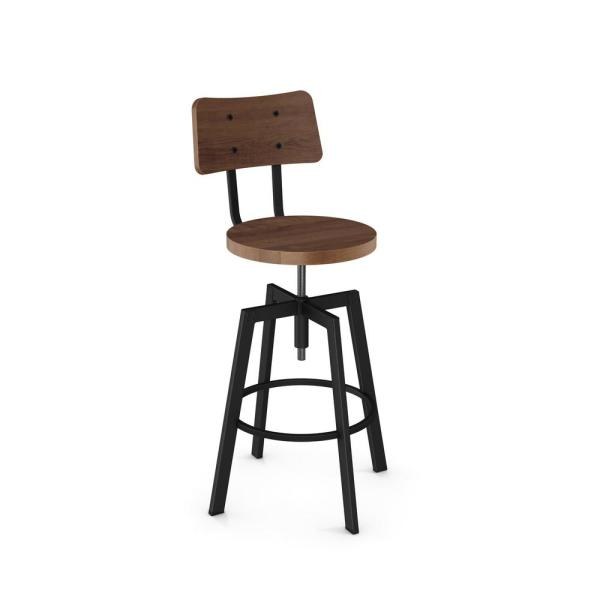 Amisco Woodland Textured Black Metal Medium Brown Wood Adjustable Stool