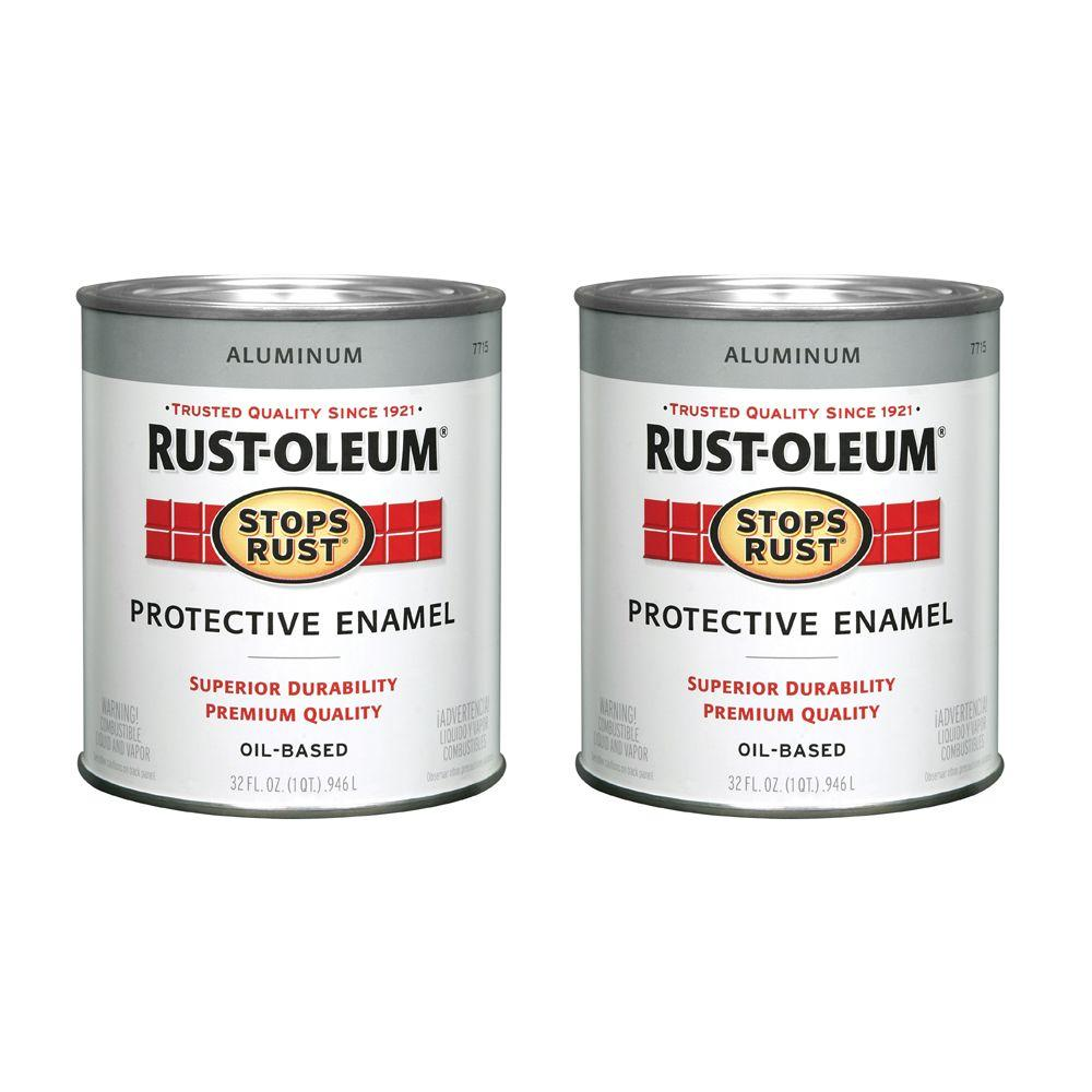 Rust-Oleum Stops Rust 32 oz. Gloss Oil-Based Silver Aluminum Paint (2-Pack)-DISCONTINUED