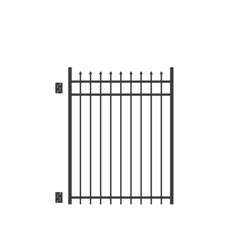 TuffBilt Cascade Standard-Duty 4 ft. W x 5 ft. H Black Aluminum Straight Pre-Assembled Fence Gate