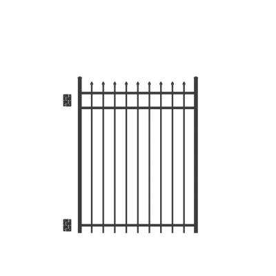 Cascade Standard-Duty 4 ft. W x 5 ft. H Black Aluminum Straight Pre-Assembled Fence Gate