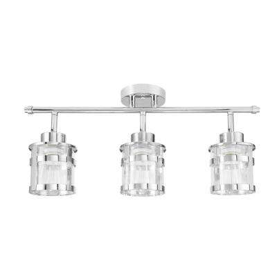 Wexford 24.62 in. 3-Light Chrome Track Lighting Kit with Clear Glass Shades