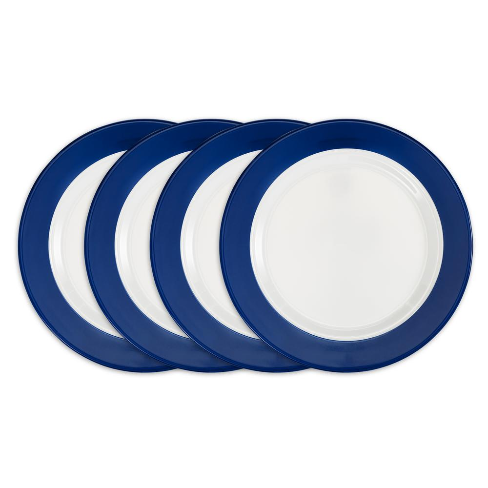 Bistro 4-Piece Blue Melamine Dinner Plate Set