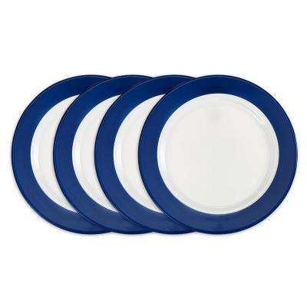 Bistro 4-Piece Blue Melamine Dinner Plate Set