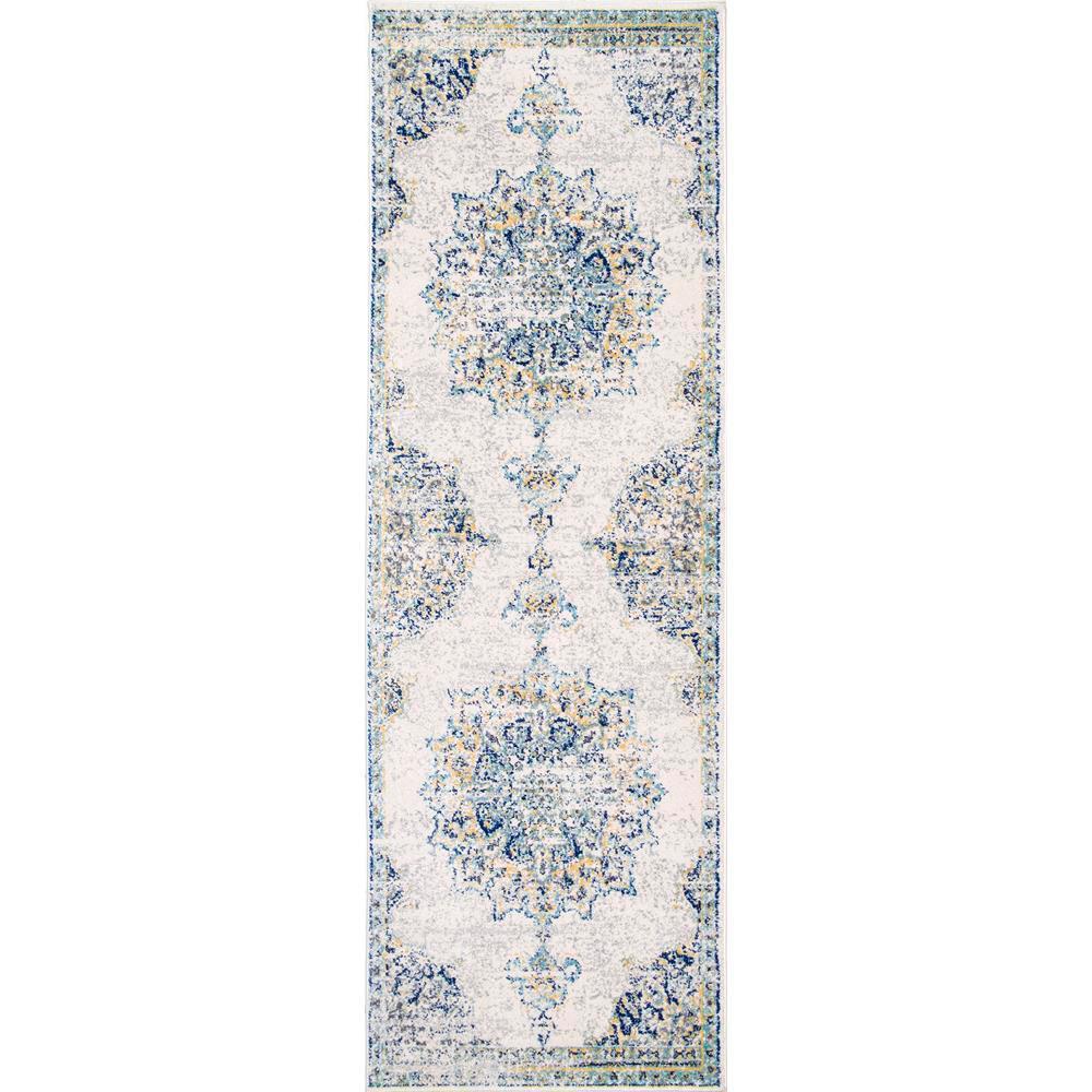 Sunny Wildflower Medallion Blue 3 ft. x 8 ft. Runner Rug