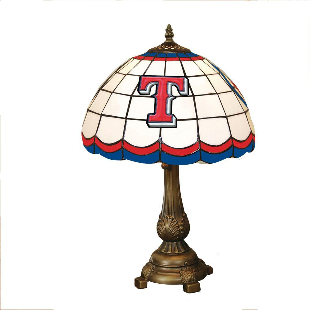 The Memory Company MLB 19.5 in. Stained Glass Tiffany Table Lamp - Texas Rangers-DISCONTINUED