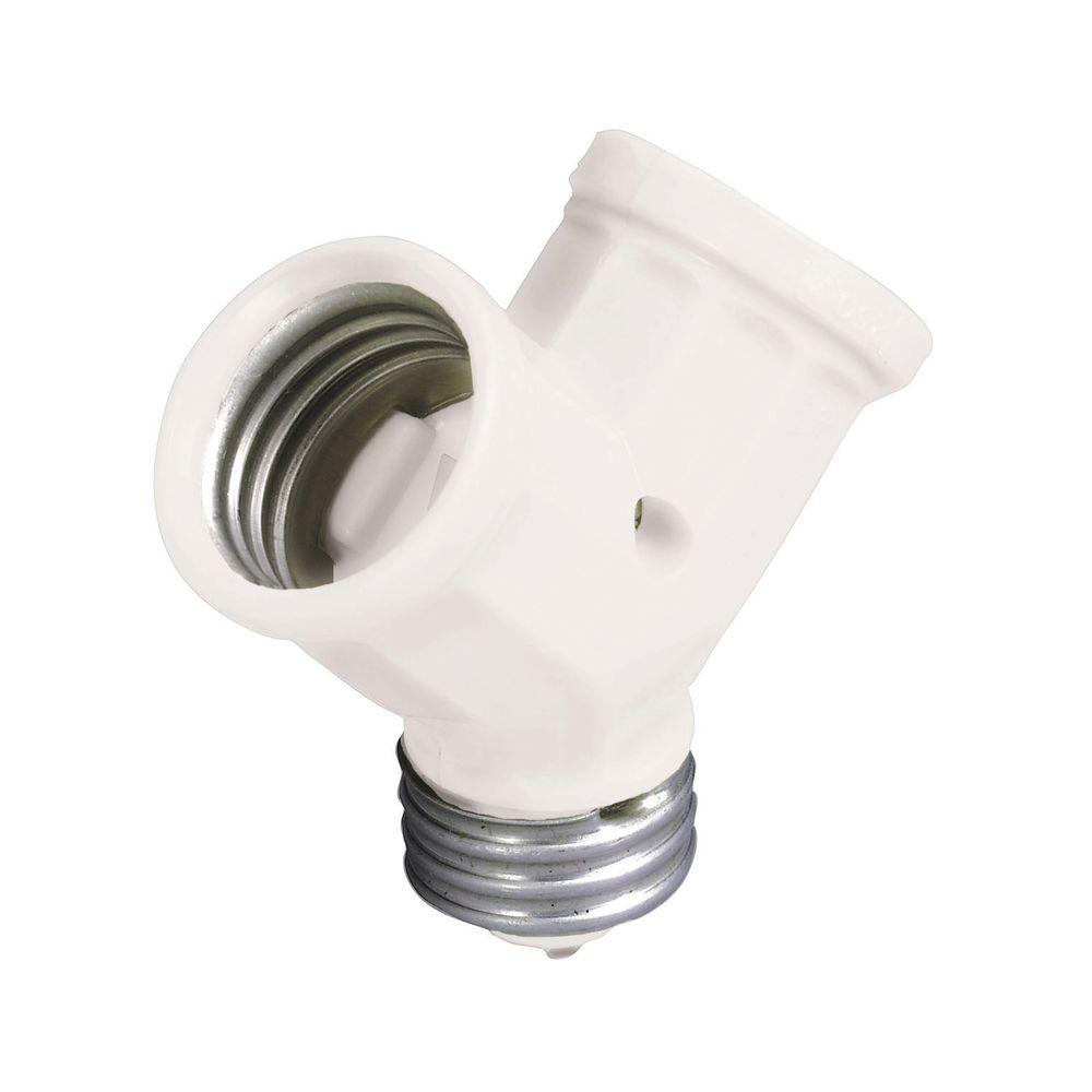 Leviton 660 Watt Keyless Twin Socket Lamp Holder Adapter