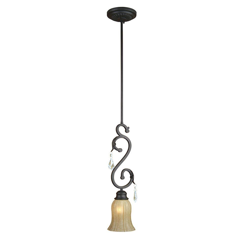 Yosemite Home Decor Jessica Collection 1-Light Sierra Slate Mini Pendant with Brown Cyan Raindrop Glass Shade