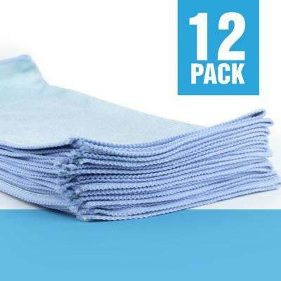 Microfiber Glass Cleaning Cloths, 16in. x 16in., Blue (12-Pack)