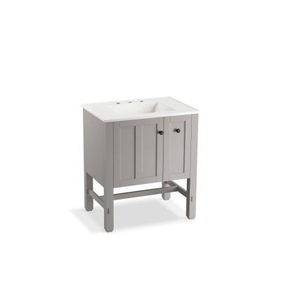 Tresham 30 in. W Vanity in Mohair Grey with Vitreous China Vanity Top in White with White Impressions Basin
