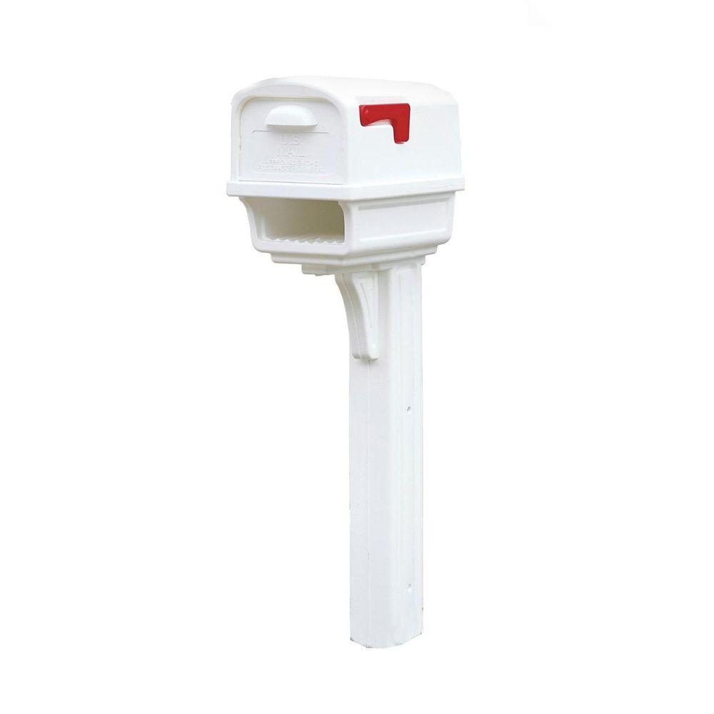 Rubbermaid Gentry All-in-One Plastic Mailbox and Post Combo, White