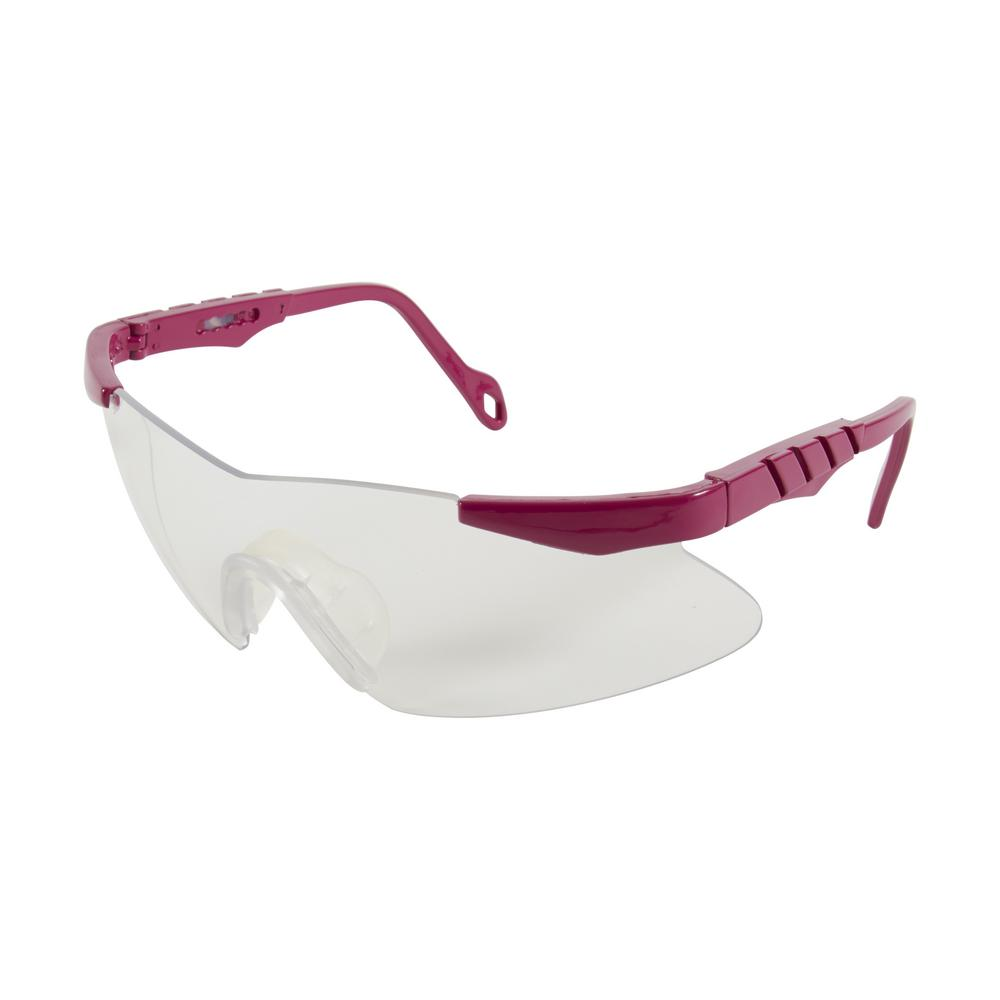 Reaction Shooting Glasses with Clear Lenses in Orchid Frames