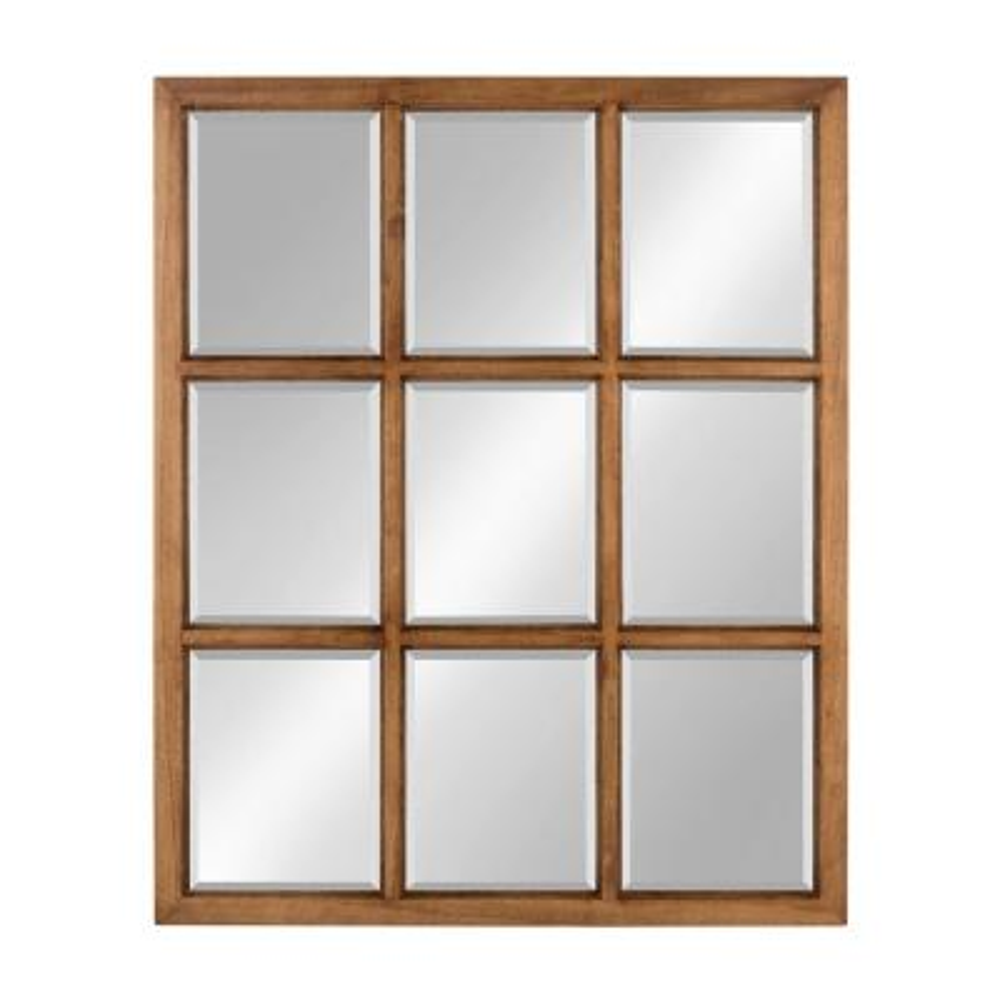 Hogan 9 Windowpane Wood Wall Mirror Other Natural