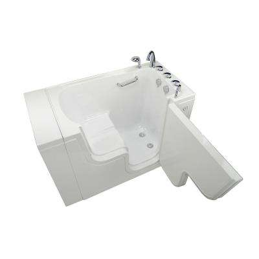 Wheelchair Transfer 52 in. Acrylic Walk-In MicroBubble Air Bath Bathtub in White, Faucet Set, Heated Seat, RH Dual Drain