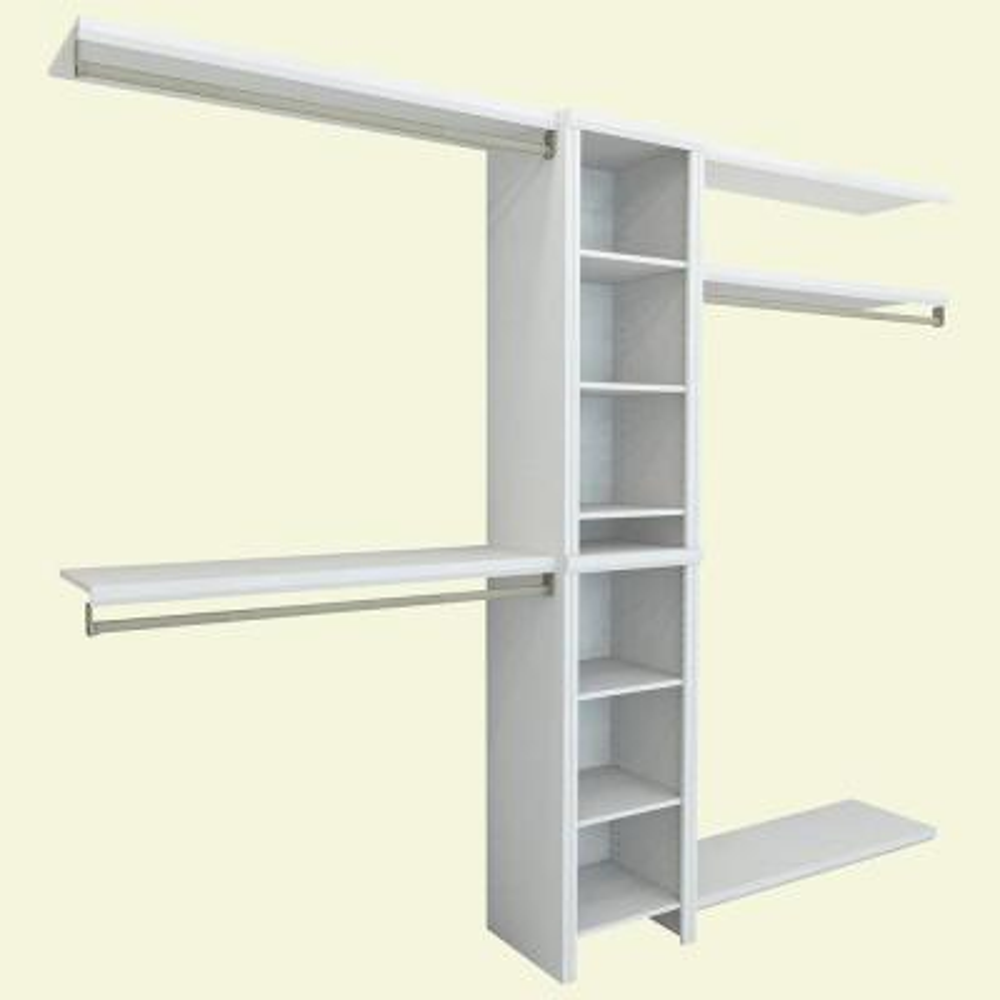 Impressions 14.57 in. D x 108 in. W x 83 in. H Basic Laminate Closet System in White (6-Piece)