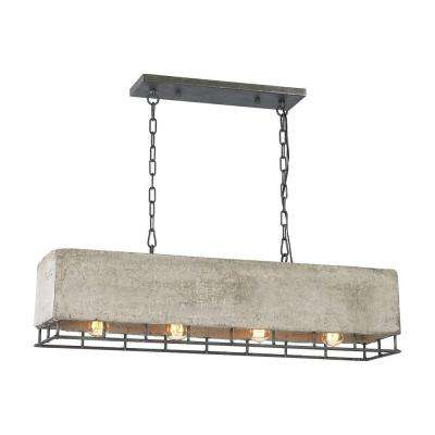 Brocca 4-Light Rectangular Silverdust Iron Chandelier With Concrete And Metal Shade