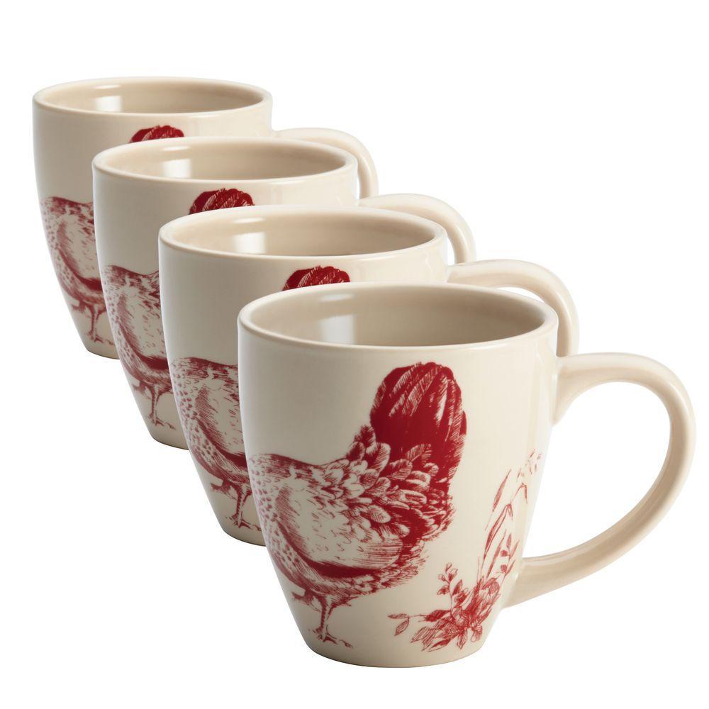 Dinnerware Chanticleer Country 4-Piece Stoneware Mug Set in Burgundy Red