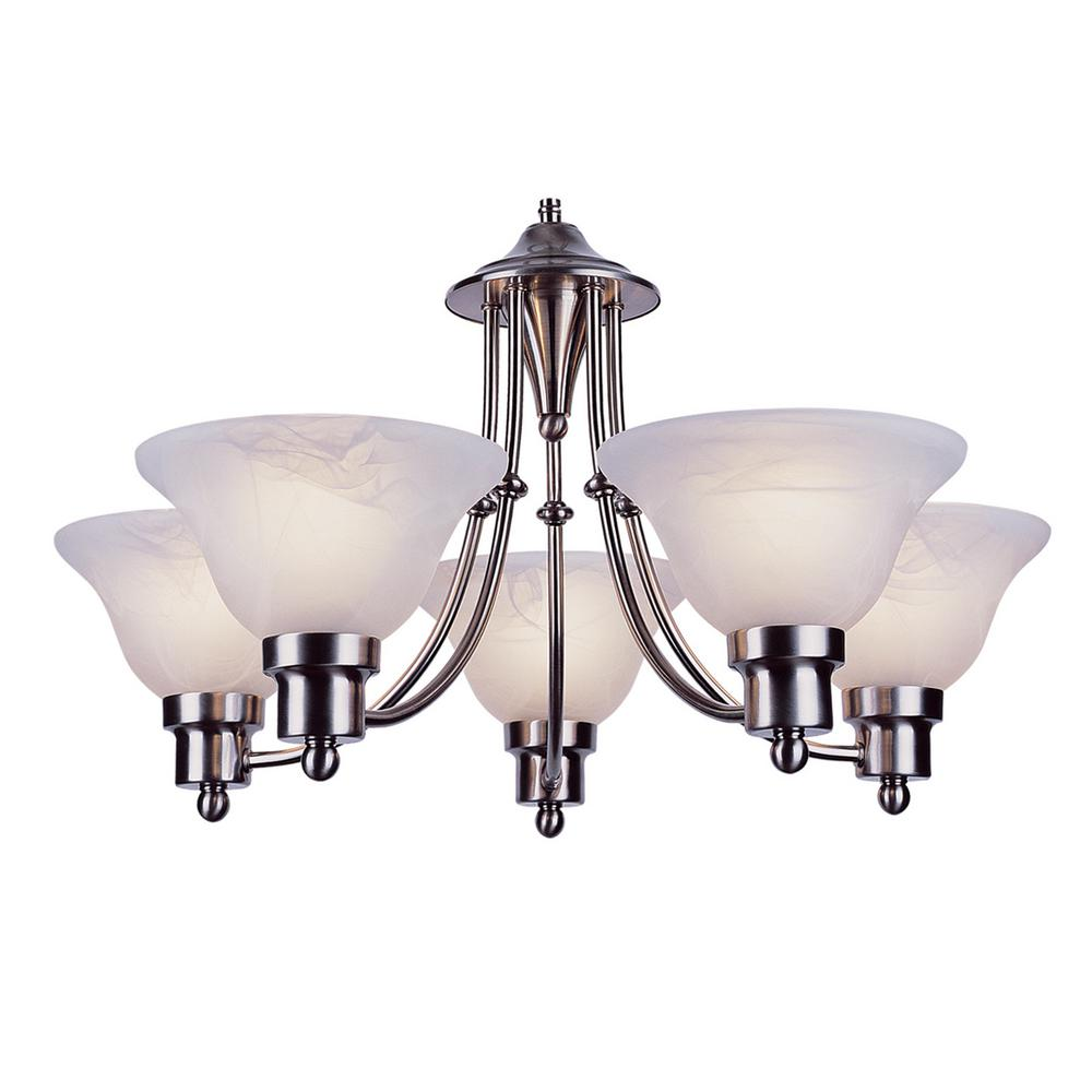 Bel Air Lighting Stewart 5 Light Brushed Nickel Incandescent Ceiling Chandelier 6545 Bn The Home Depot
