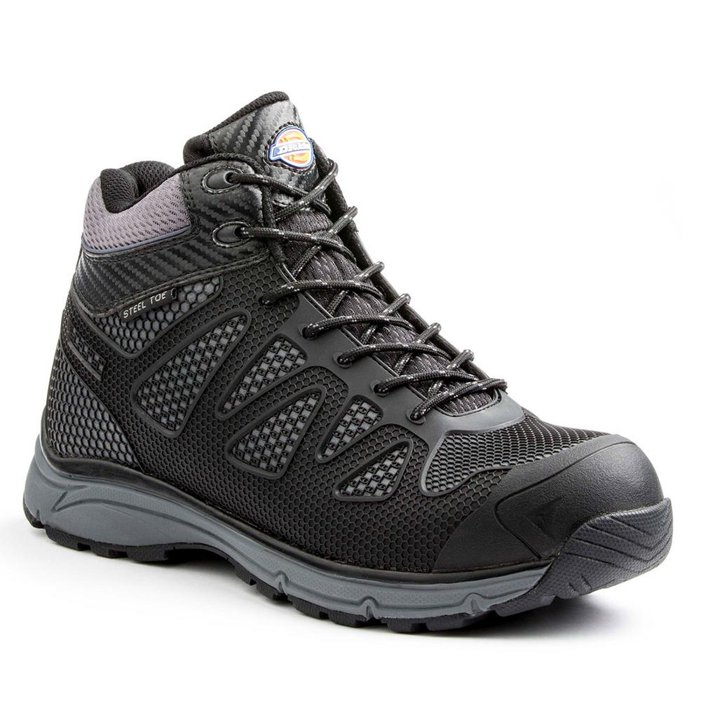 87871c6d6ad Dickies Fury Mid Men Size 12 Black/Gray Rubber/Mesh Steel Safety Toe Work  Boot