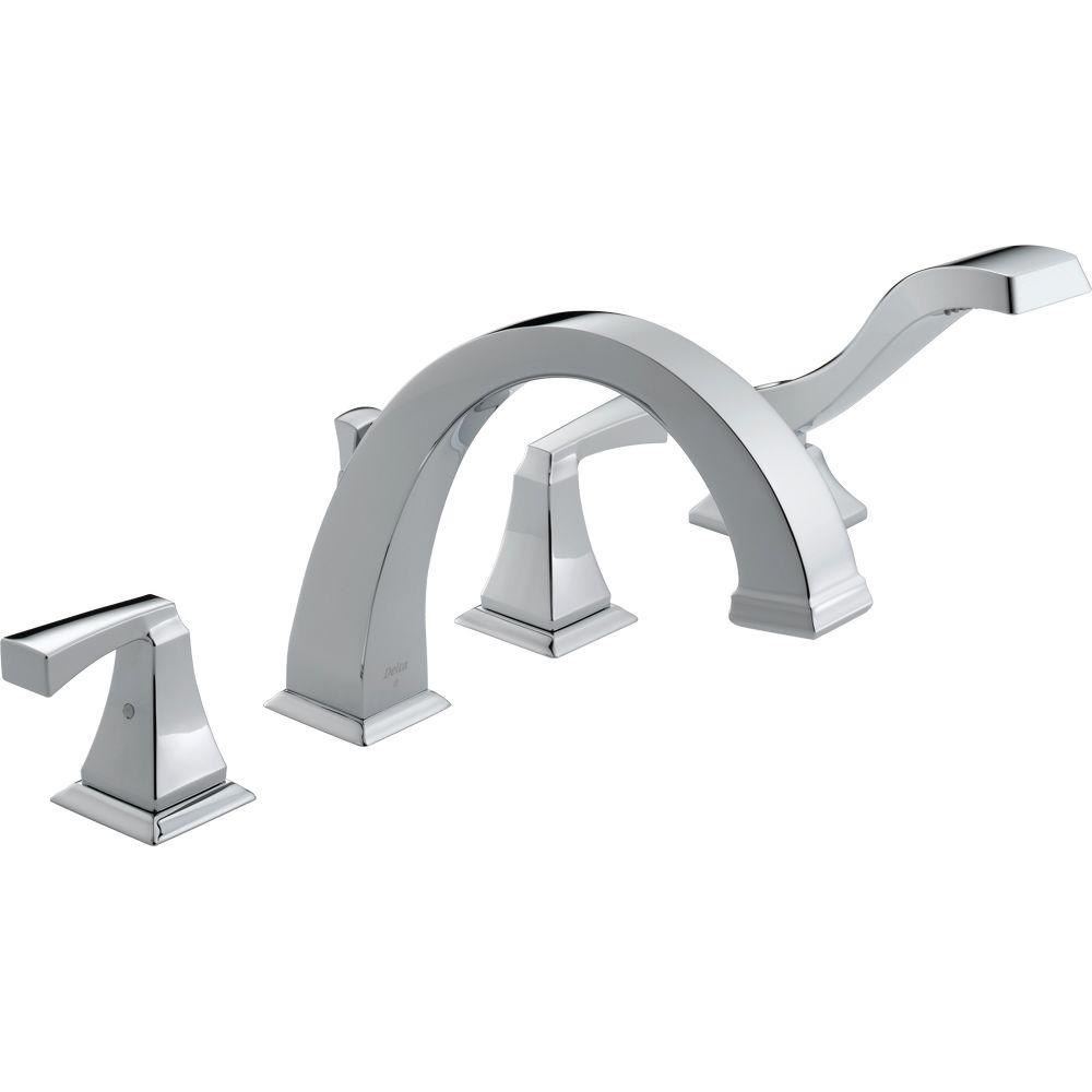 Delta Dryden 2-Handle Deck-Mount Roman Tub Faucet with Hand Shower Trim Kit Only in Chrome (Valve Not Included)
