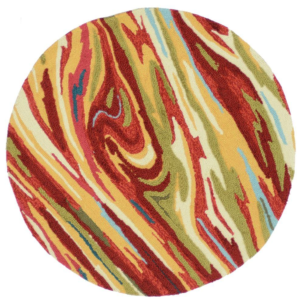 Loloi Rugs Olivia Lifestyle Collection Red/Multi 3 ft. Round Area Rug