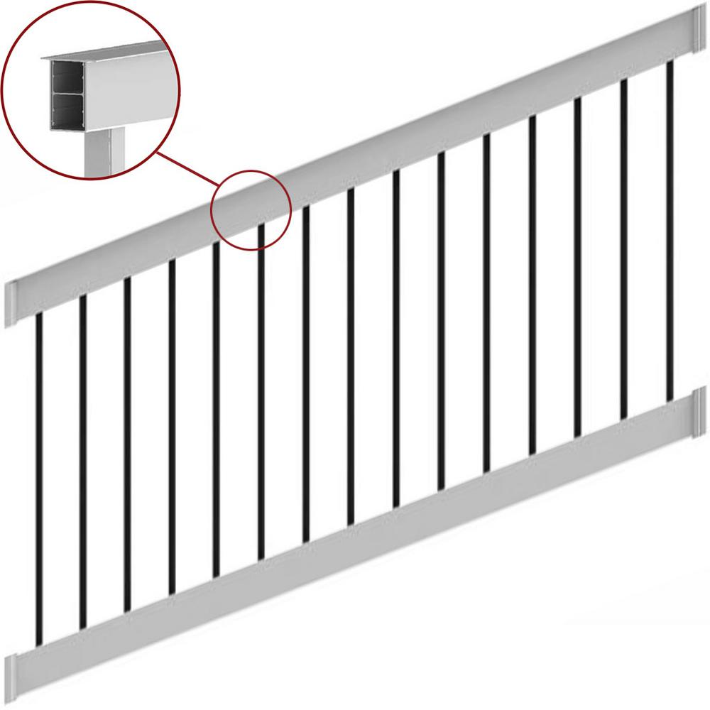 Deck Top 8 ft. x 36 in. Stair Rail Kit White