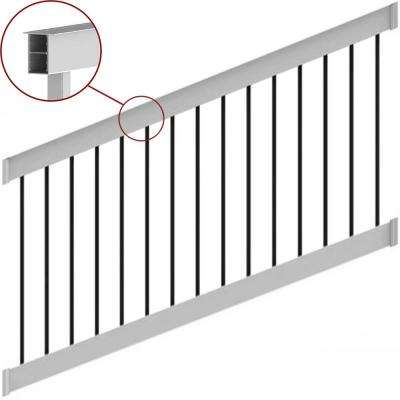 Deck Top 8 ft. x 36 in. Stair Rail Kit White 28-38° with Round Aluminum Balusters