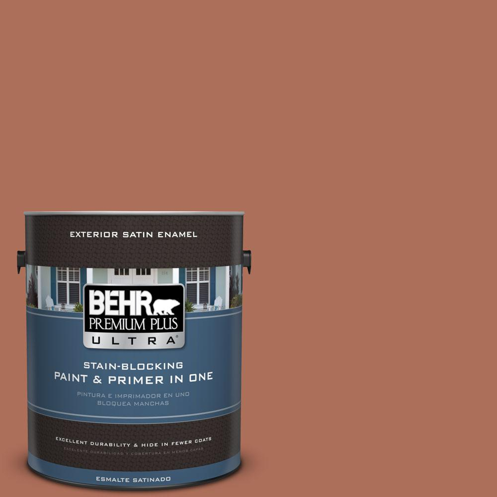 BEHR Premium Plus Ultra 1-gal. #BXC-39 Sunset Orange Satin Enamel Exterior Paint