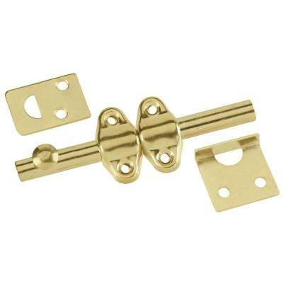 4 in. Polished Brass Surface Door Bolt
