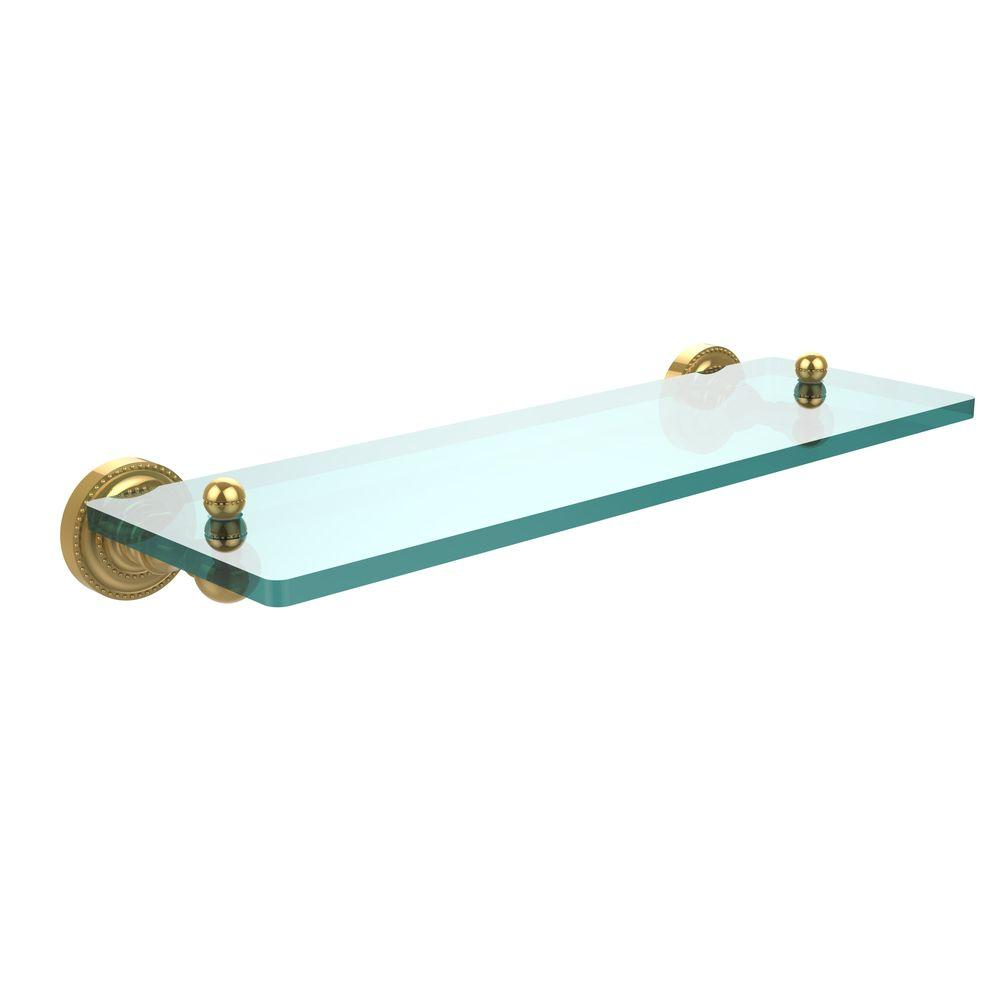 Allied Brass Dottingham 16 in. L  x 3 in. H  x 5 in. W Single Clear Glass Bathroom Shelf in Polished Brass
