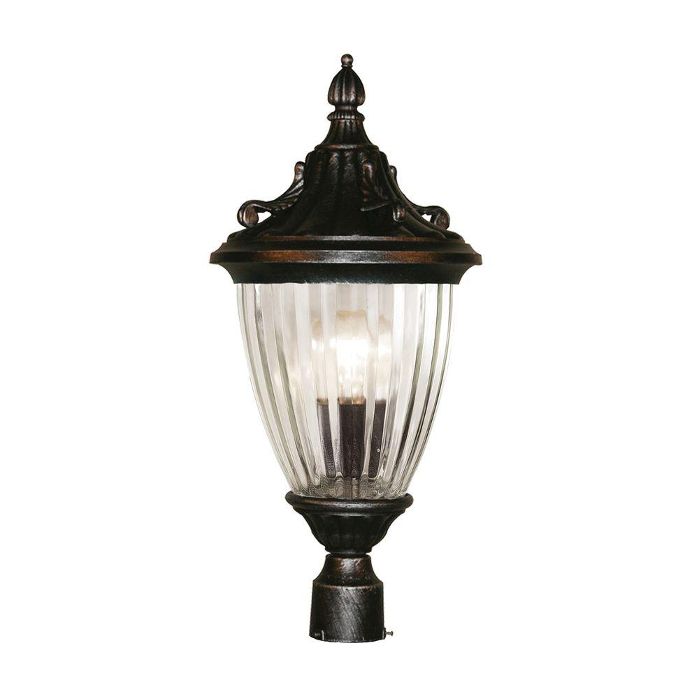 Tulen Lawrence 1-Light Outdoor Black Silver Incandescent Post Light