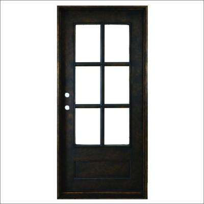 37.5 in. x 81 in. Heritage 6-Lite Antique Rubbed Bronze Right-Hand Inswing Painted Decorative Iron Prehung Front Door