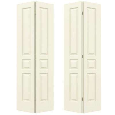 36 in. x 80 in. Avalon Vanilla Painted Textured Hollow Core Molded Composite MDF Closet Bi-fold Double Door