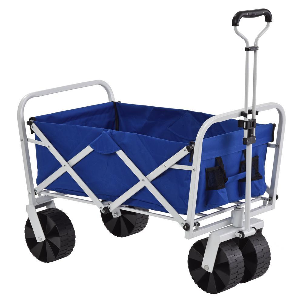 6 cu. ft. 21 in. Steel Folding Utility Cart in Blue