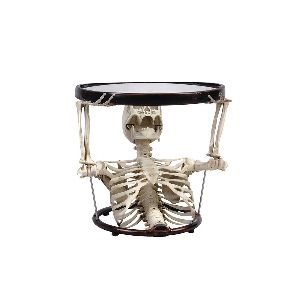 17.7 in. Halloween Oval Glass Table with Half Upper Skeleton Torso