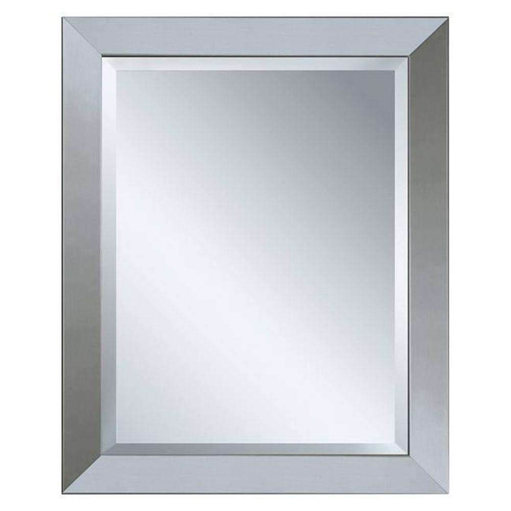 Glacier bay 28 in x 22 in framed mirror in brushed nickel 8343 the home depot for Bathroom mirrors brushed nickel