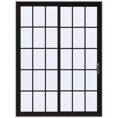 72 in. x 96 in. V-4500 Black Prehung Right-Hand Sliding 15 Lite Vinyl Patio Door with White Interior