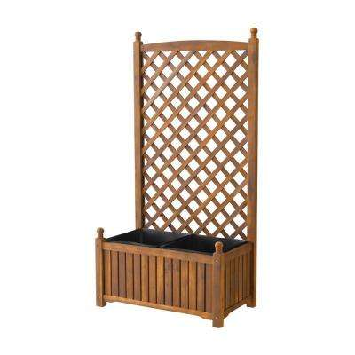 Lexington 28 in. x 16 in. Teak Oil Wood Planter with Trellis