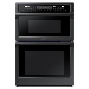 Samsung 30 In Electric Dual Convection And Steam Cook Wall Oven With Built Microwave Black Stainless Steel Nq70m6650dg The Home Depot